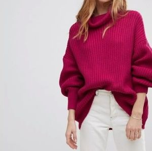 Free People | Pink Knit Oversized Sweater